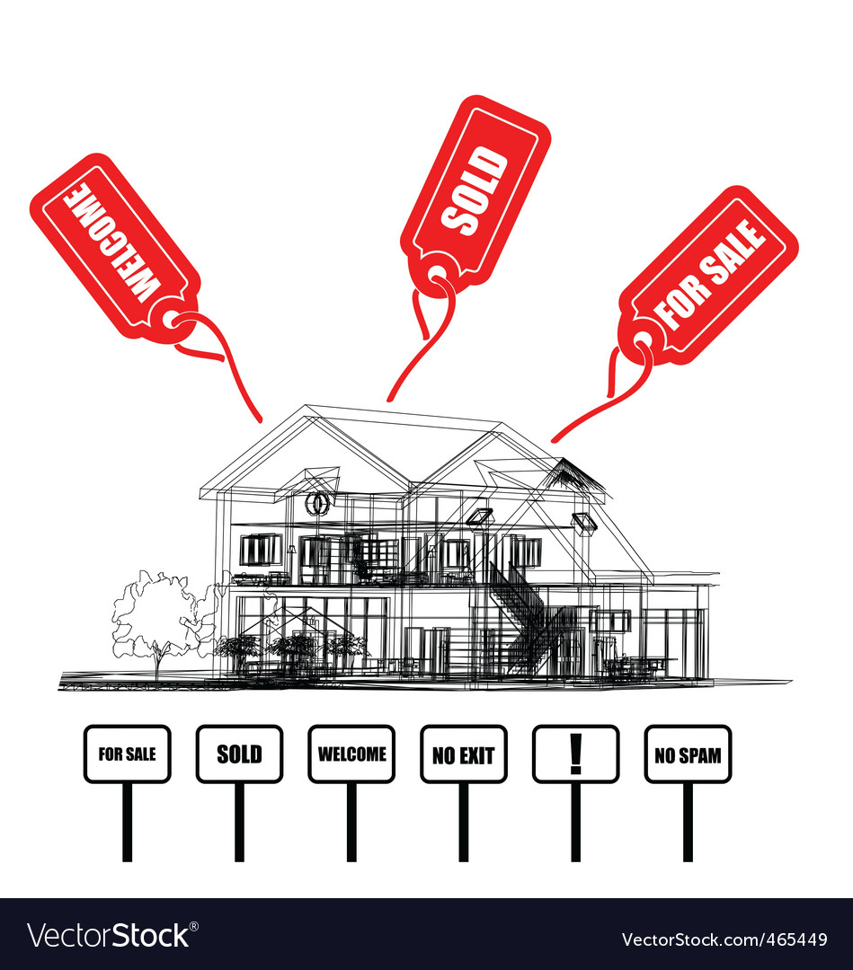 Wireframe of cottage with tags vector | Price: 1 Credit (USD $1)