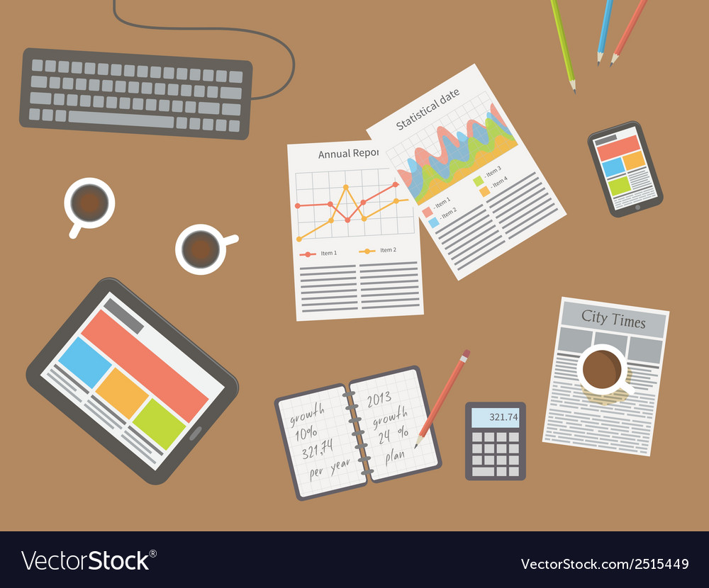 Workplace office desk vector | Price: 1 Credit (USD $1)