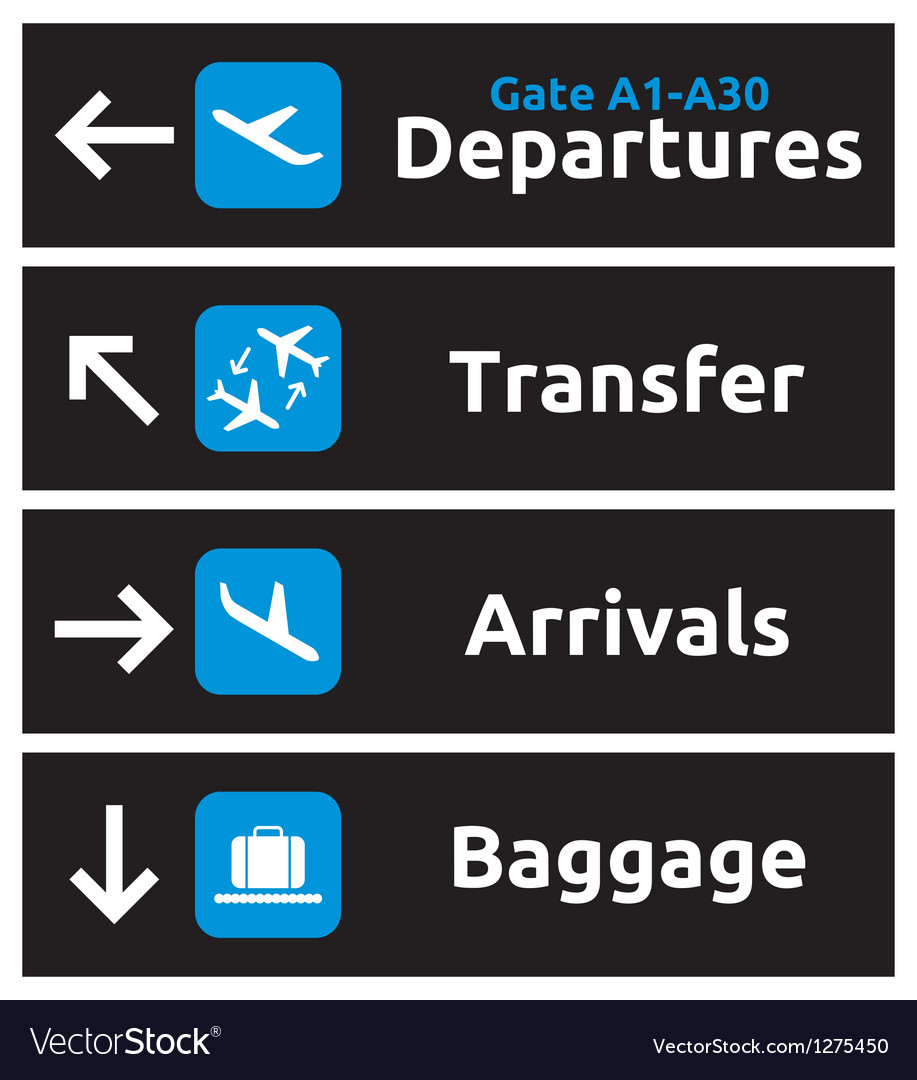 Airport signs vector | Price: 1 Credit (USD $1)
