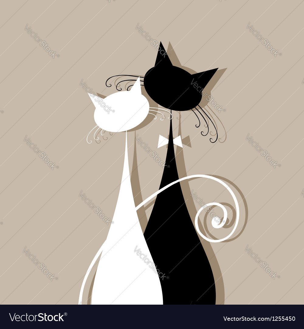 Couple cats together silhouette for your design vector | Price: 1 Credit (USD $1)