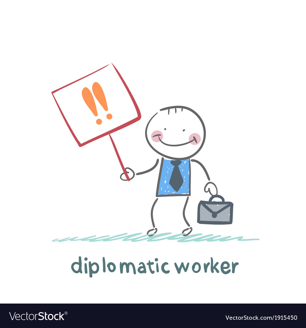 Diplomatic worker holds a placard with exclamation vector | Price: 1 Credit (USD $1)