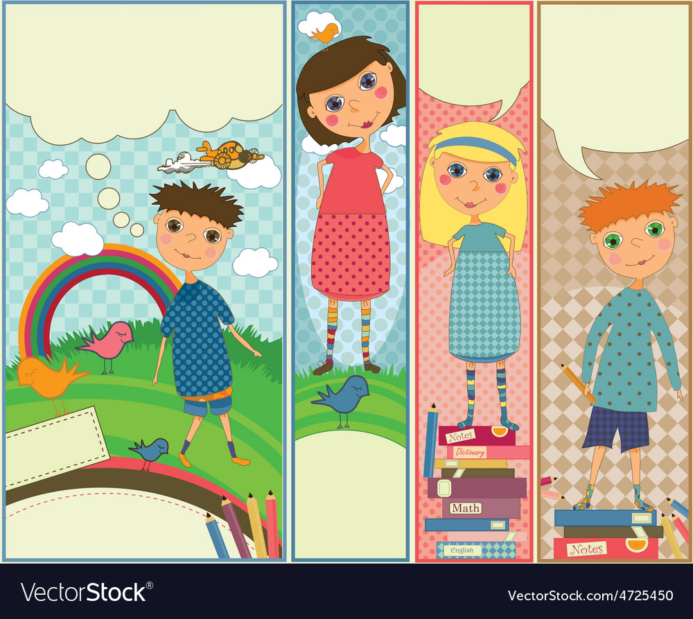 Four cute colorful banners with kids playing vector | Price: 1 Credit (USD $1)