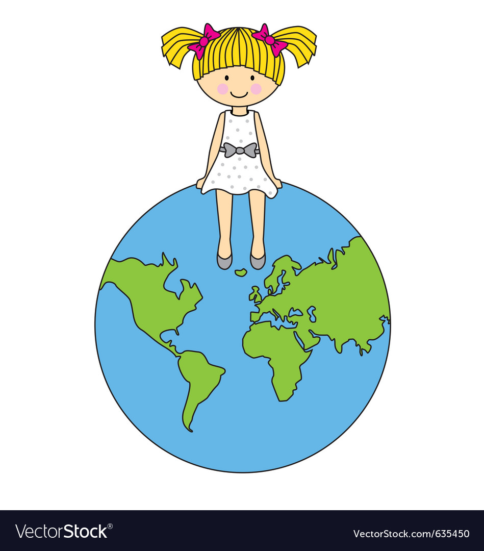 Girl sitting on the globe vector | Price: 1 Credit (USD $1)
