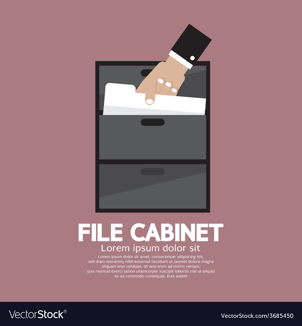 Hand picking a document from a file cabinet vector | Price: 1 Credit (USD $1)