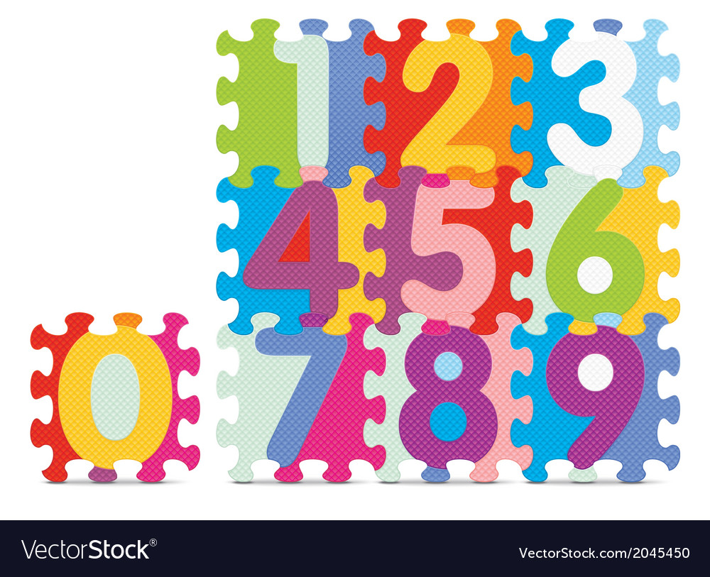 Numbers written with alphabet puzzle vector | Price: 1 Credit (USD $1)
