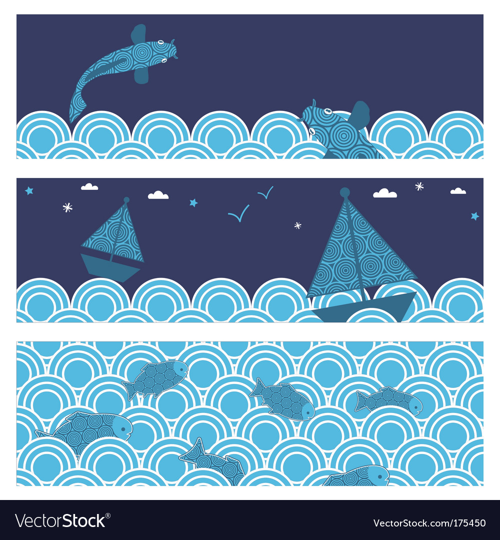 Ocean banners vector | Price: 1 Credit (USD $1)