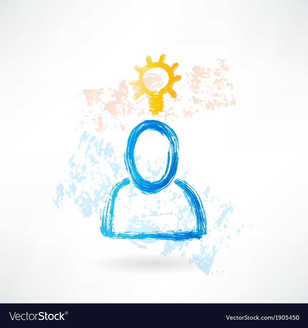 Person with lamp grunge icon vector | Price: 1 Credit (USD $1)