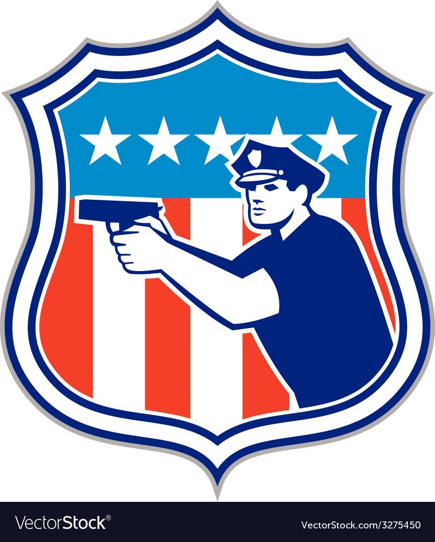 Policeman with gun american flag shield retro vector | Price: 1 Credit (USD $1)