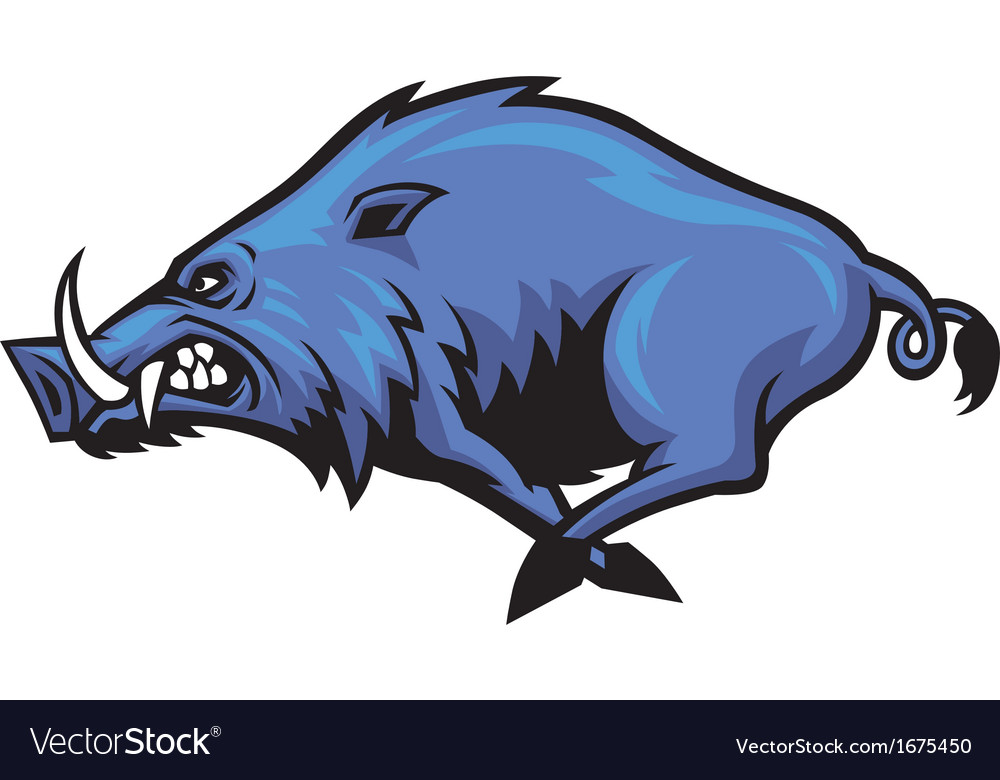 Running wild hog mascot vector | Price: 1 Credit (USD $1)