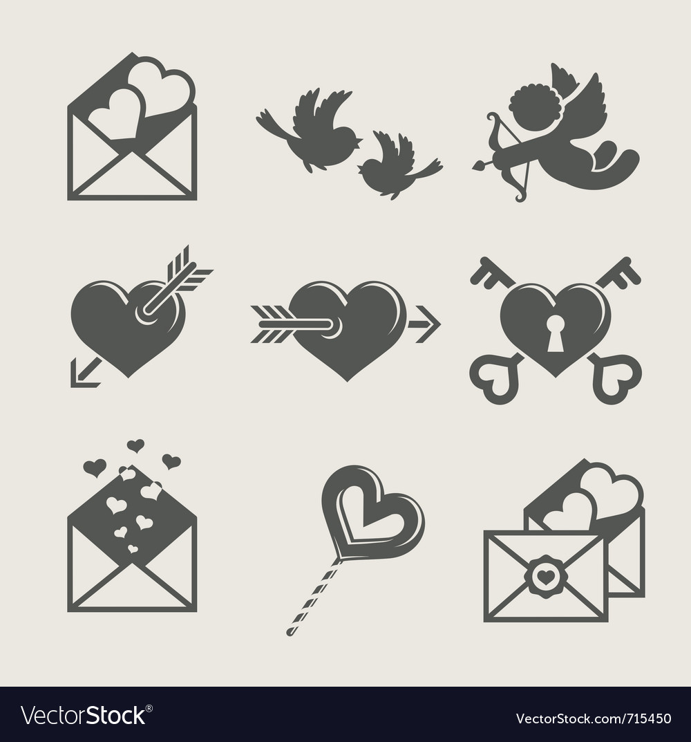 Saint valentines day set icon vector | Price: 1 Credit (USD $1)