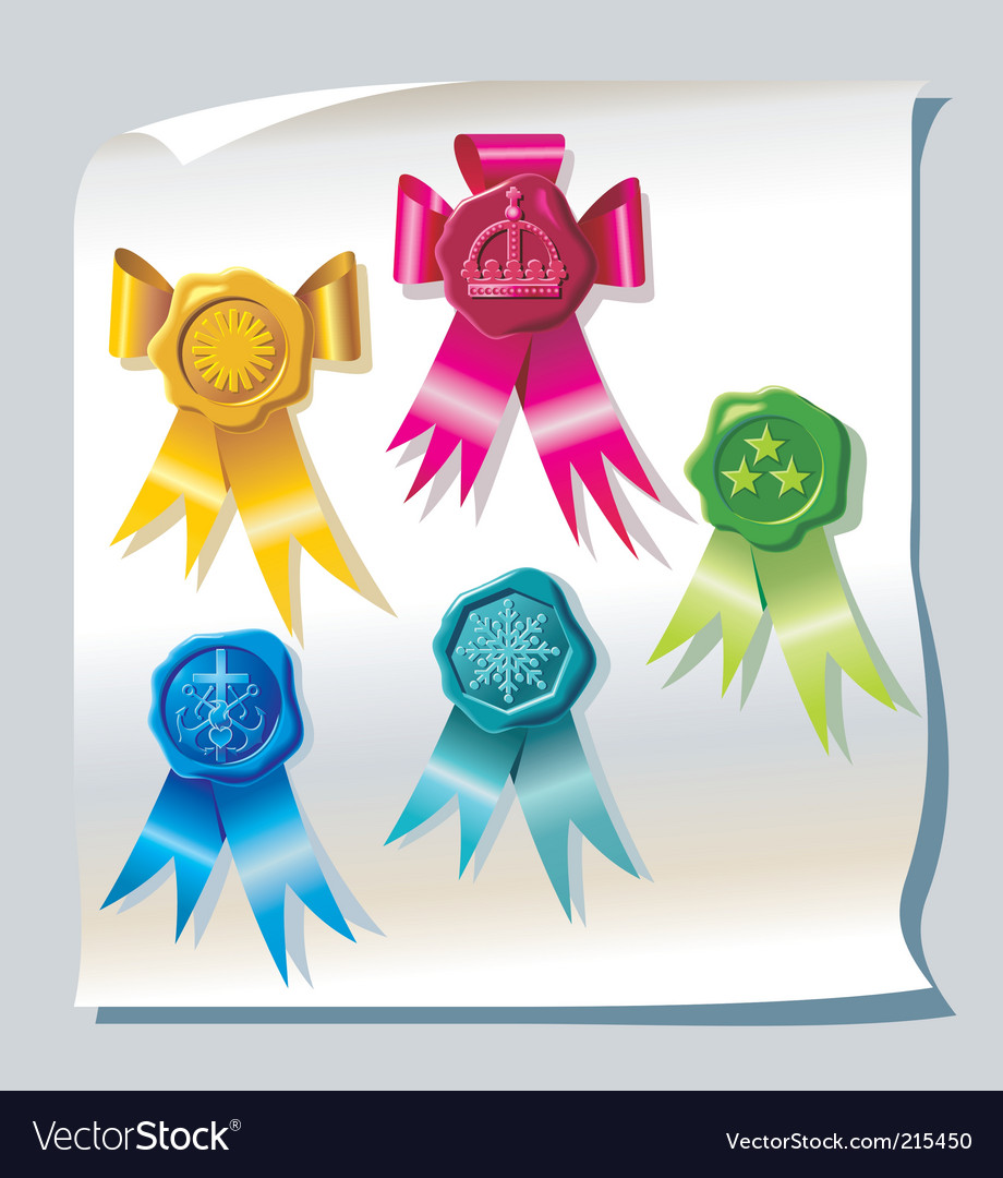Sealing wax stamp with ribbons vector | Price: 3 Credit (USD $3)