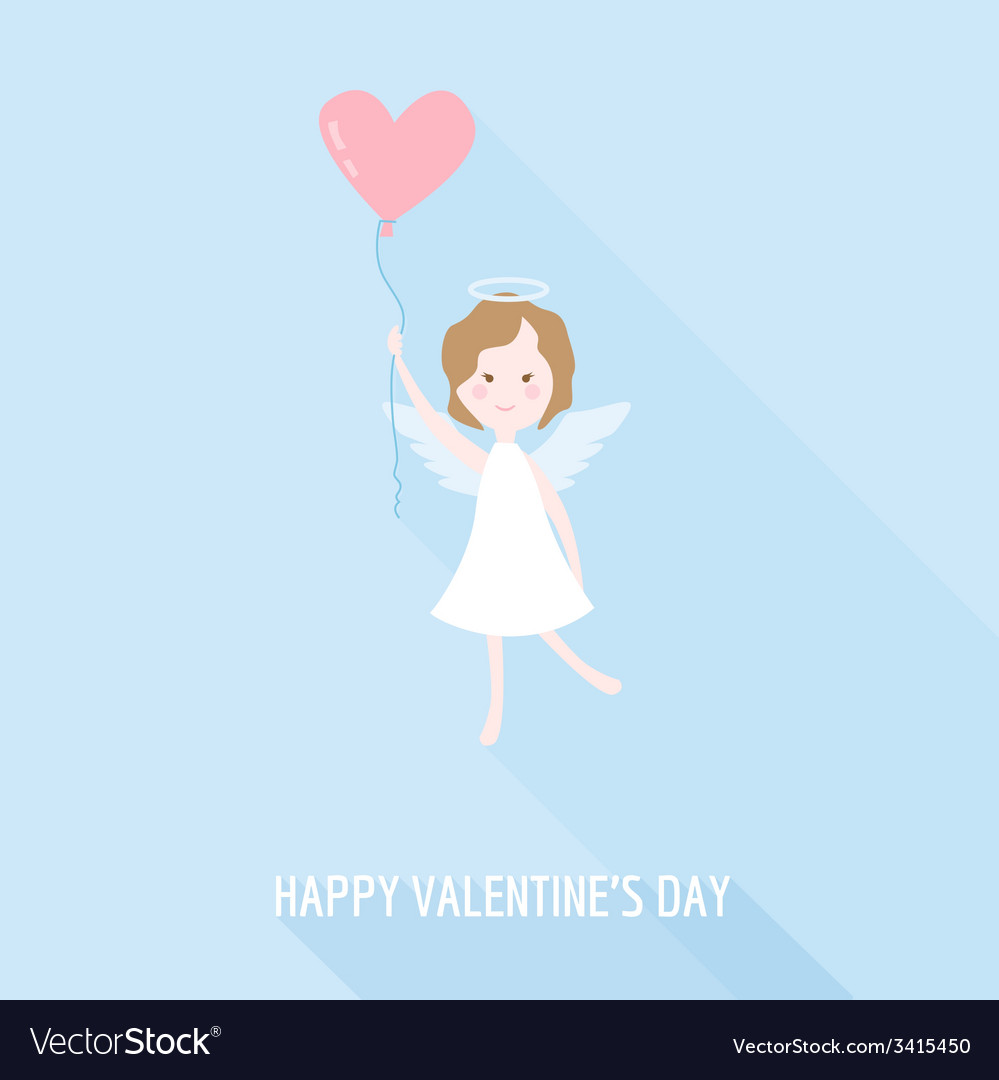 Valentines day card - cupid angel with heart vector | Price: 1 Credit (USD $1)