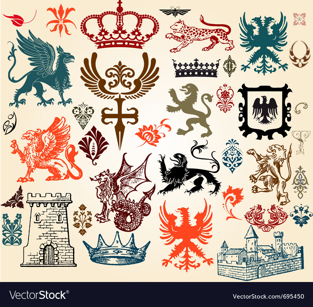 Vintage heraldry design elements vector | Price: 1 Credit (USD $1)
