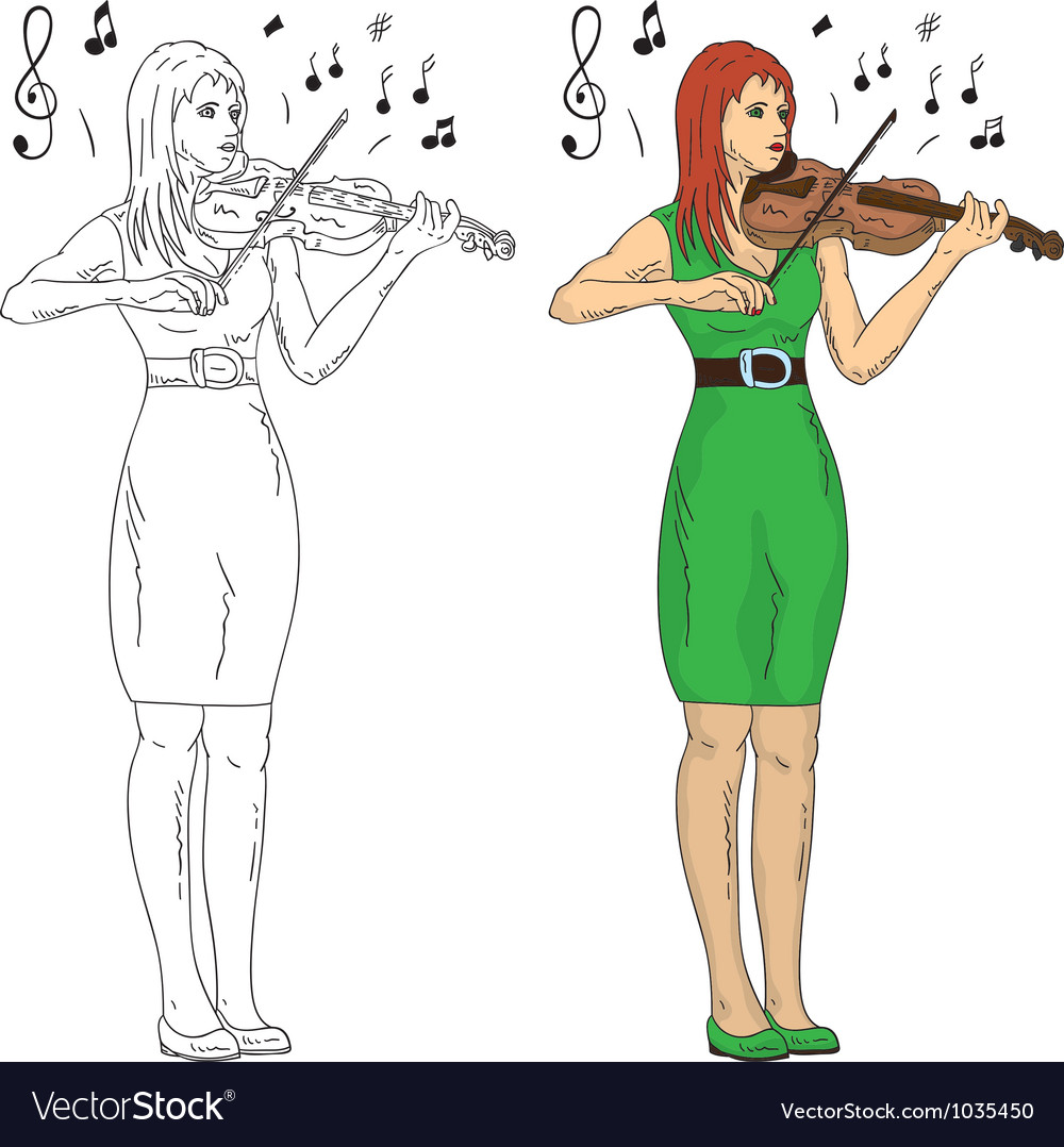 Woman playing violin vector | Price: 1 Credit (USD $1)