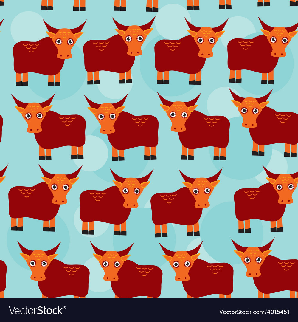 Asian yak bull seamless pattern with funny cute vector | Price: 1 Credit (USD $1)