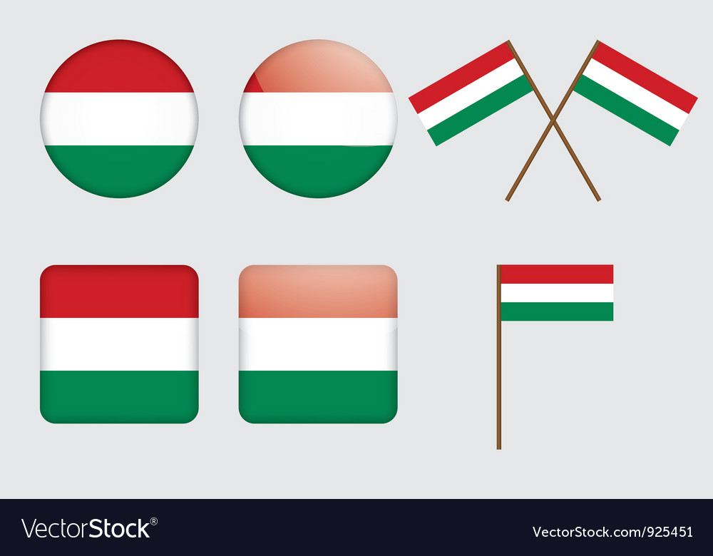 Badges with flag of hungary vector | Price: 1 Credit (USD $1)