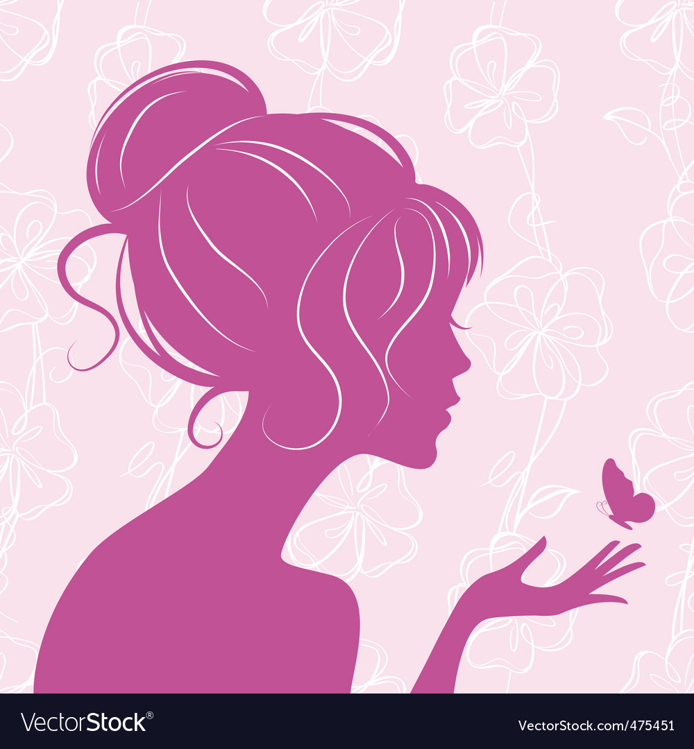 Beauty girl silhouette with butterfly vector | Price: 1 Credit (USD $1)