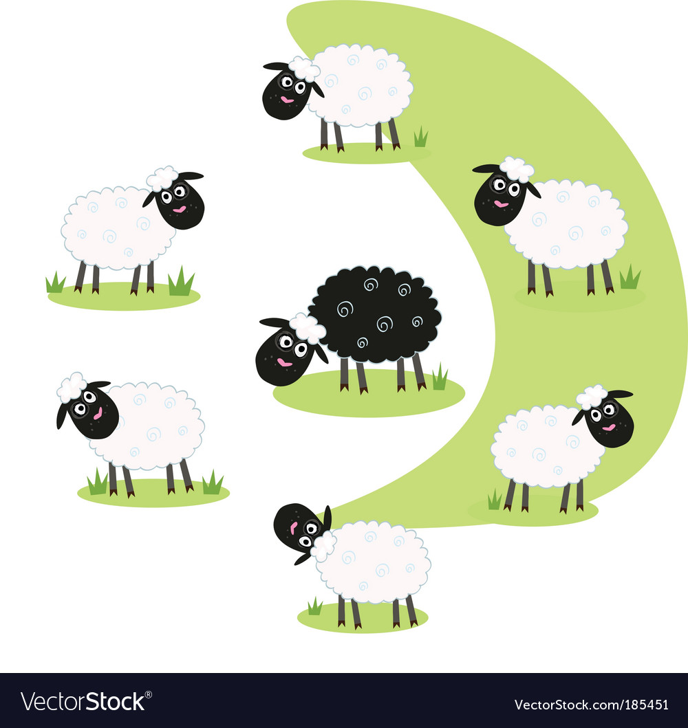 Black sheep vector | Price: 1 Credit (USD $1)