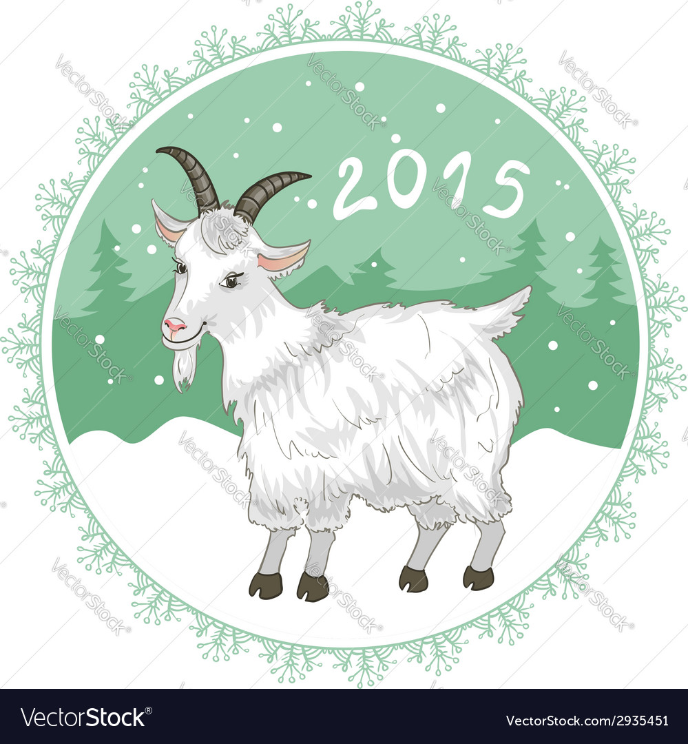 Card with grey-green snowflake and goat symbol of vector | Price: 1 Credit (USD $1)