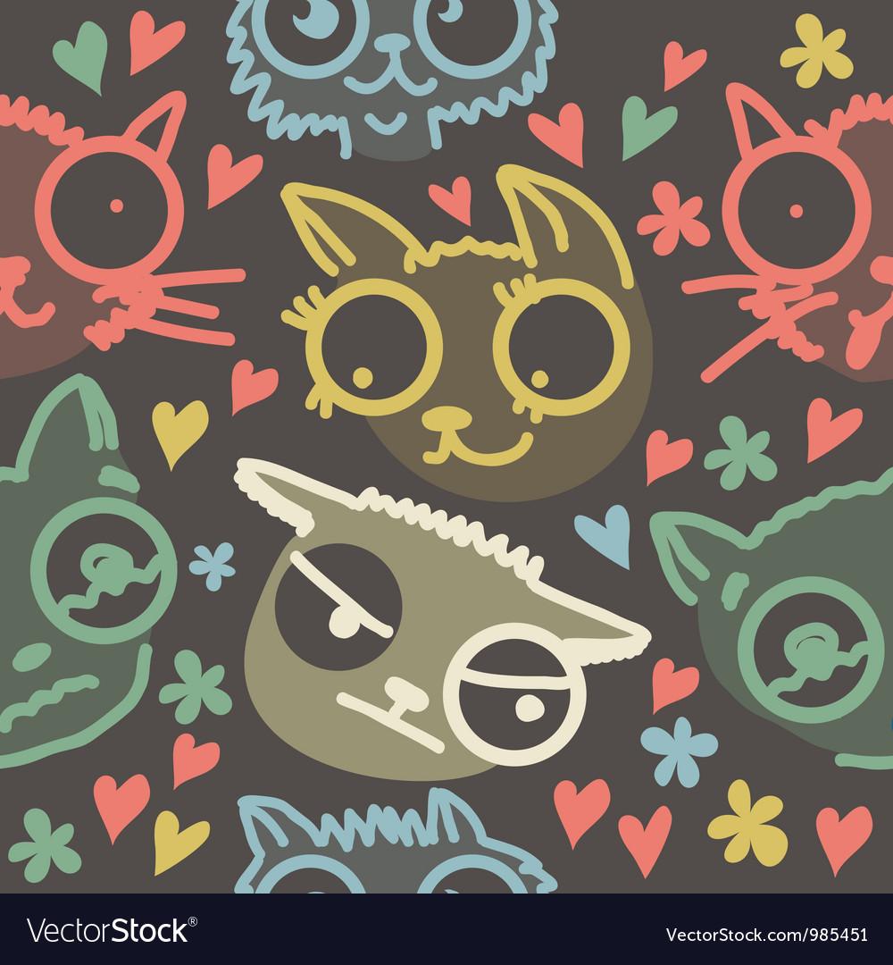 Cat line art background vector | Price: 1 Credit (USD $1)