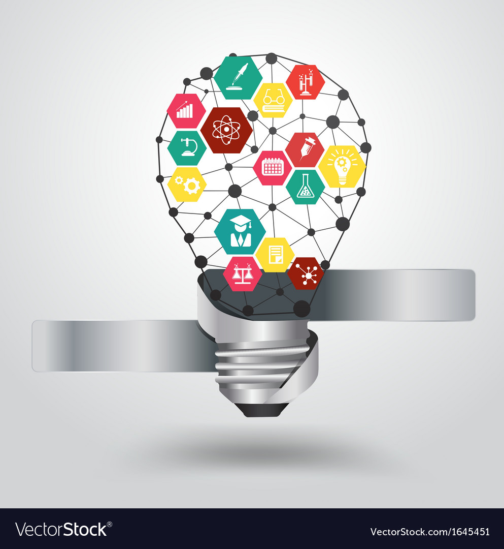 Creative light bulb idea with science icon vector | Price: 1 Credit (USD $1)