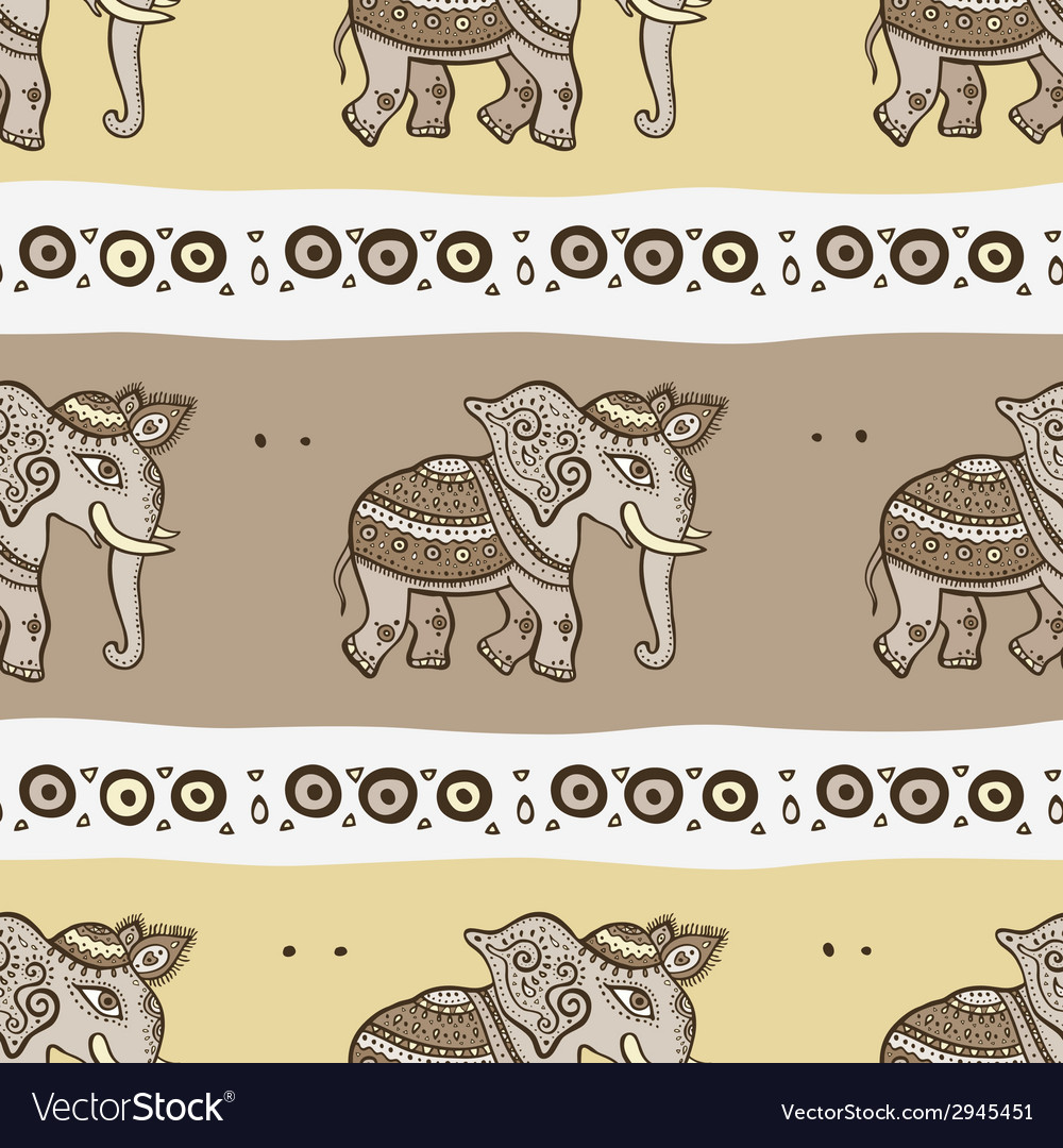 Elephants ethnic seamless background vector | Price: 1 Credit (USD $1)