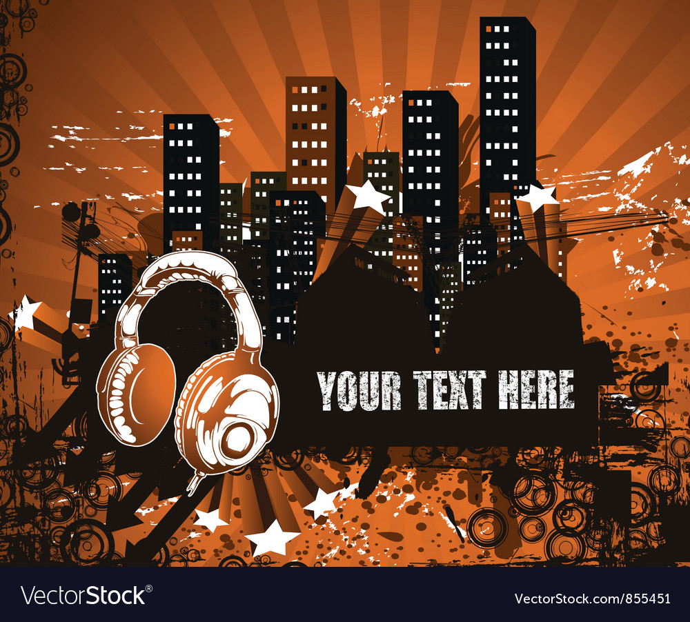 Headphones with urban background vector | Price: 1 Credit (USD $1)