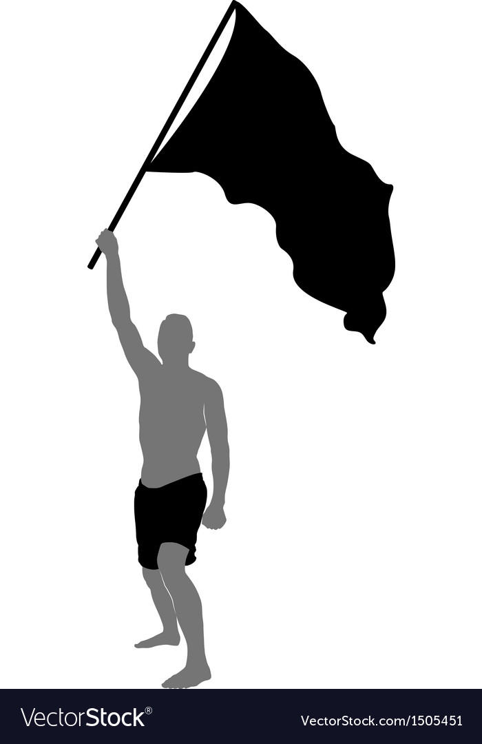 Man with flag vector | Price: 1 Credit (USD $1)