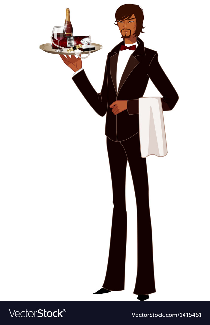 Portrait of waiter holding tray of bottle vector | Price: 3 Credit (USD $3)