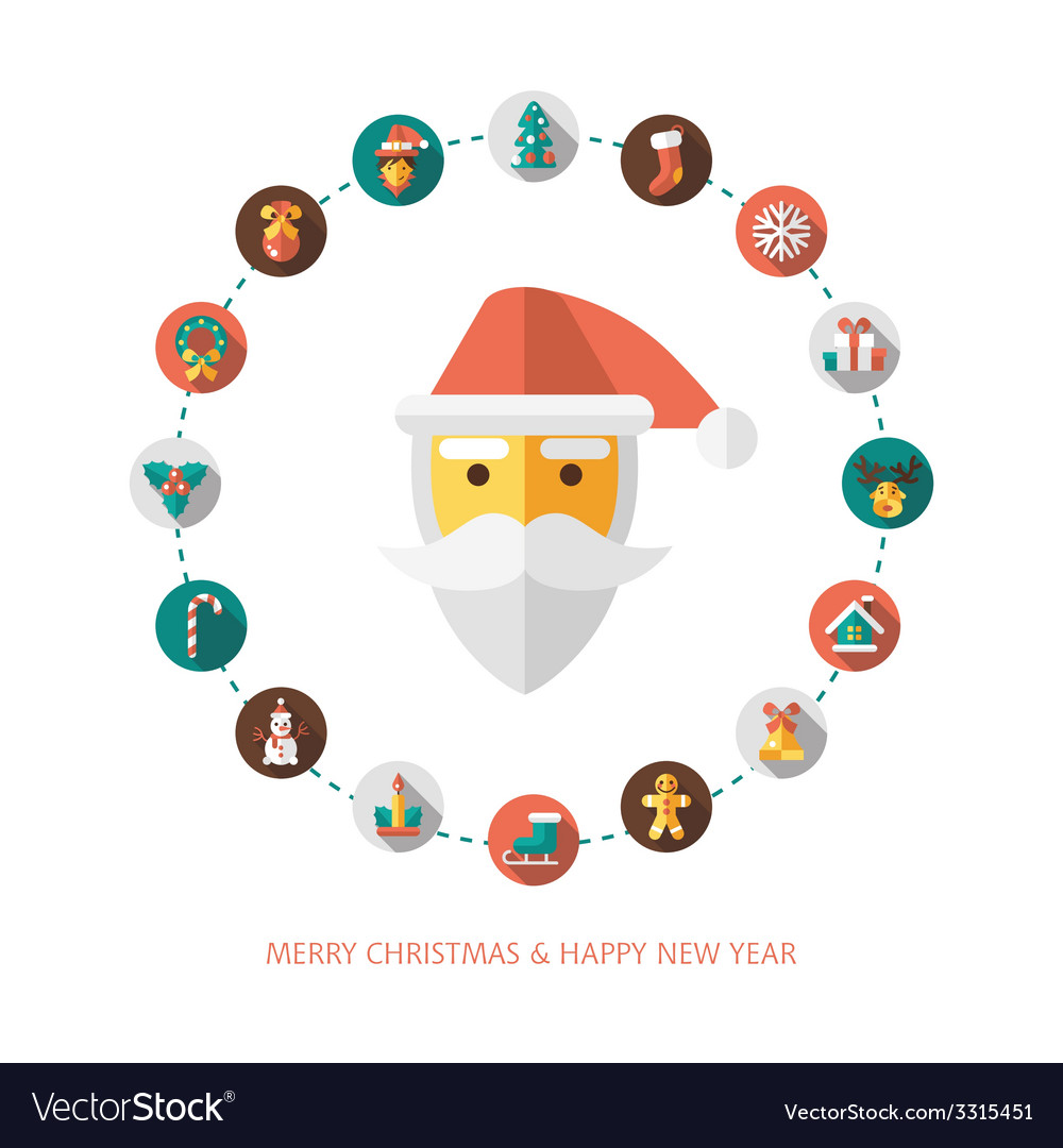 Set of christmas and happy new year flat design vector   Price: 1 Credit (USD $1)