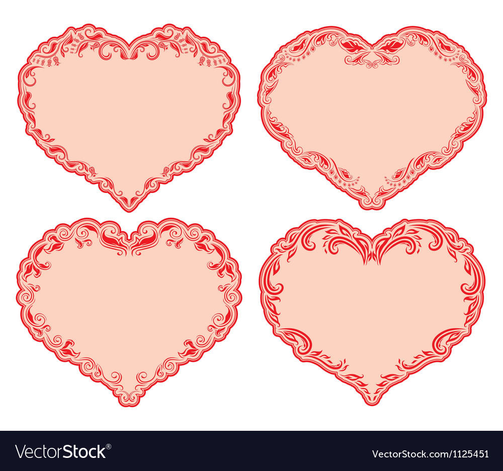Set of ornate heart frames vector | Price: 1 Credit (USD $1)