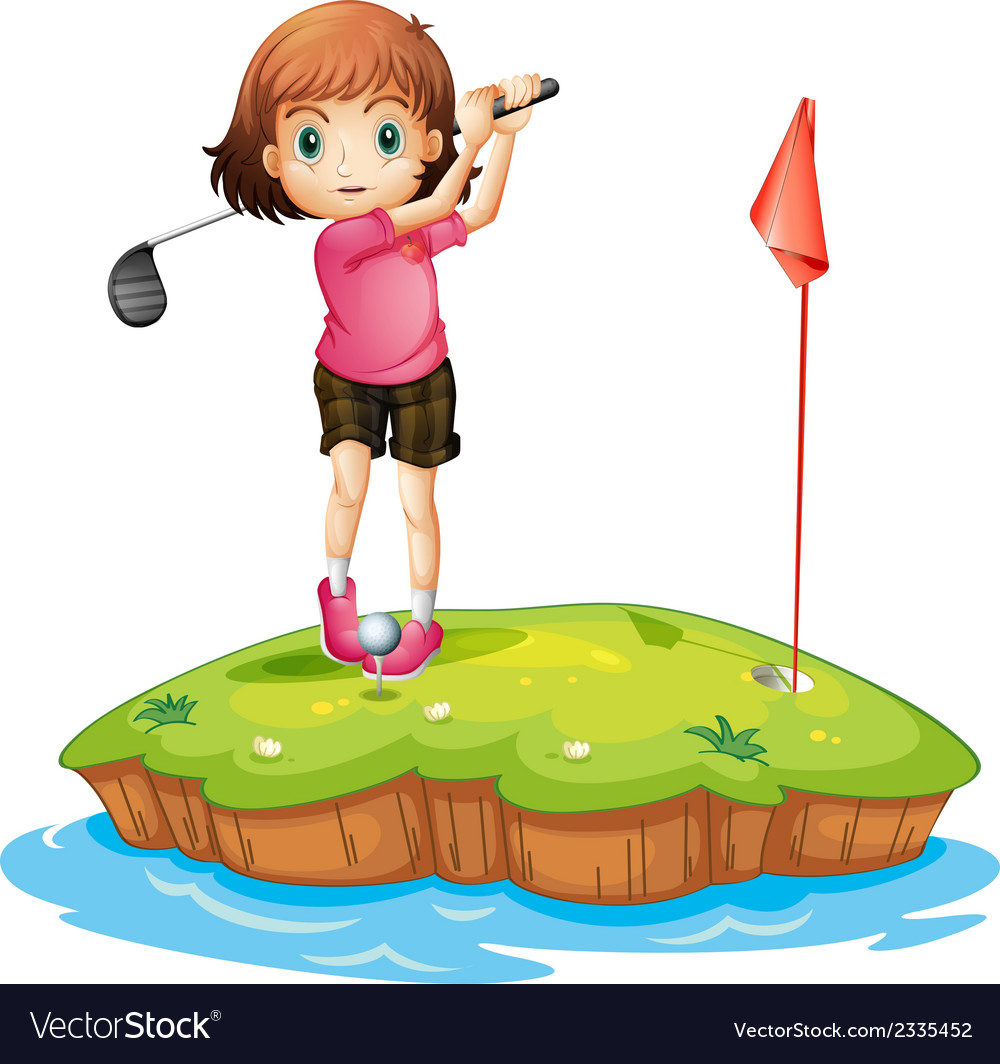 An island with a girl playing golf vector | Price: 1 Credit (USD $1)