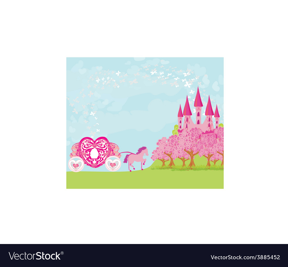 Beautiful fairytale pink castle vector | Price: 1 Credit (USD $1)