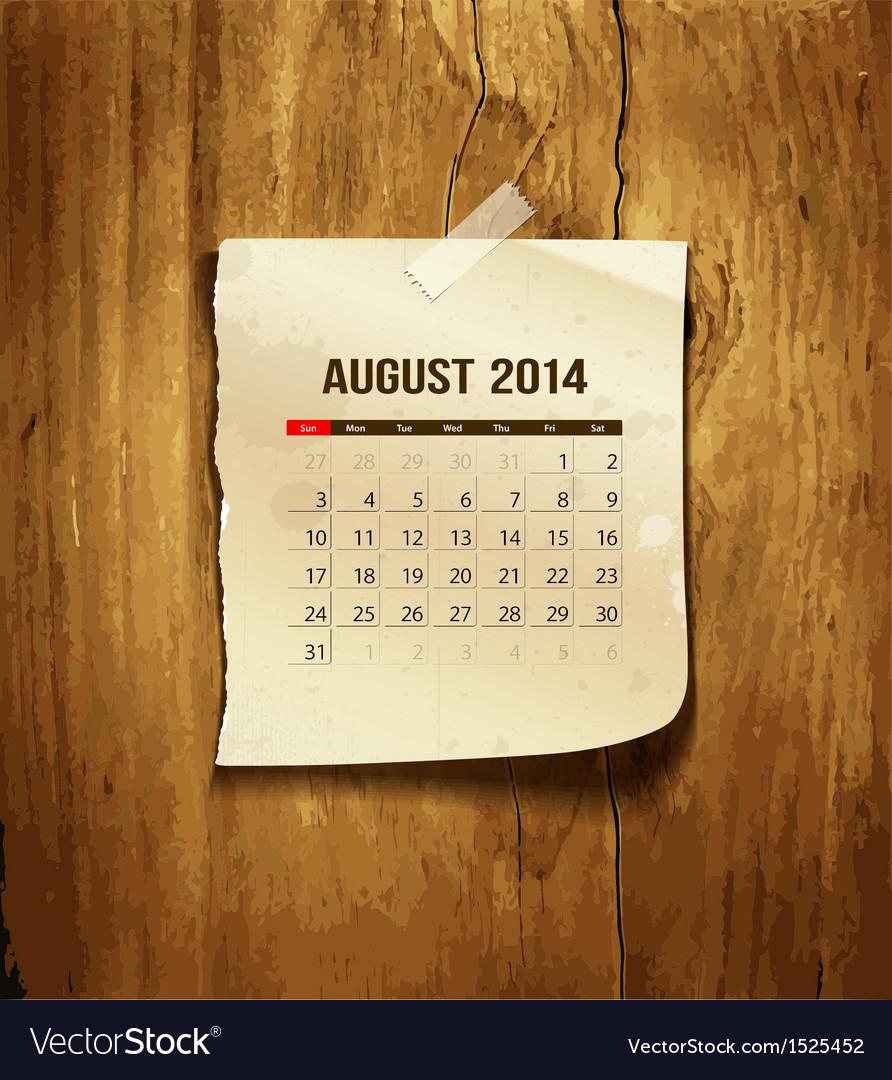 Calendar august 2014 vector | Price: 1 Credit (USD $1)