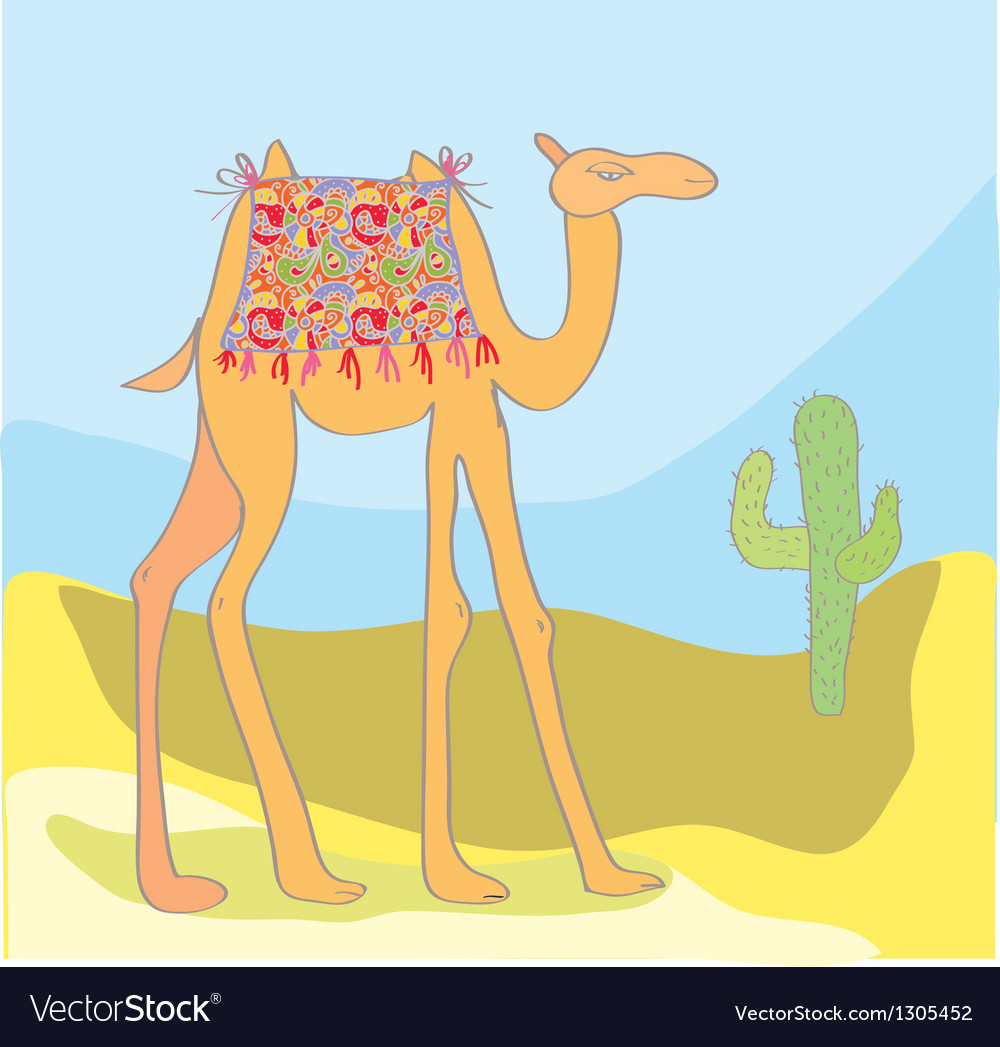 Camel with cactus in the desert vector | Price: 1 Credit (USD $1)