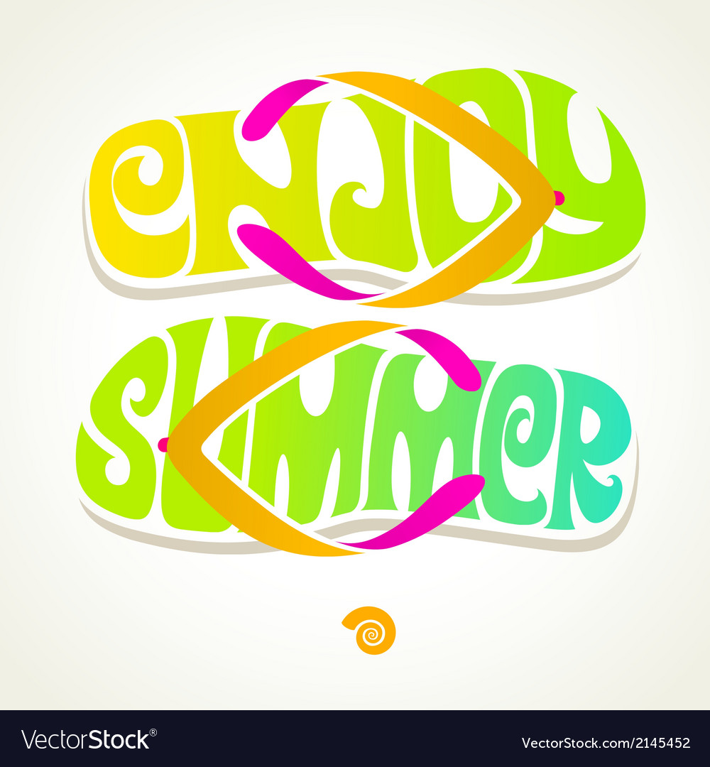Flip-flop with summer greeting vector | Price: 3 Credit (USD $3)