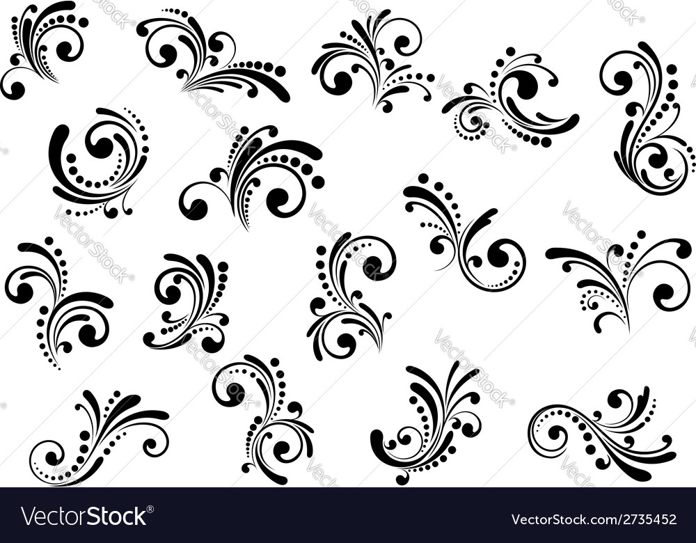 Floral motifs and design elements vector | Price: 1 Credit (USD $1)