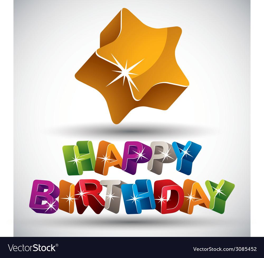 Happy birthday phrase vector | Price: 1 Credit (USD $1)