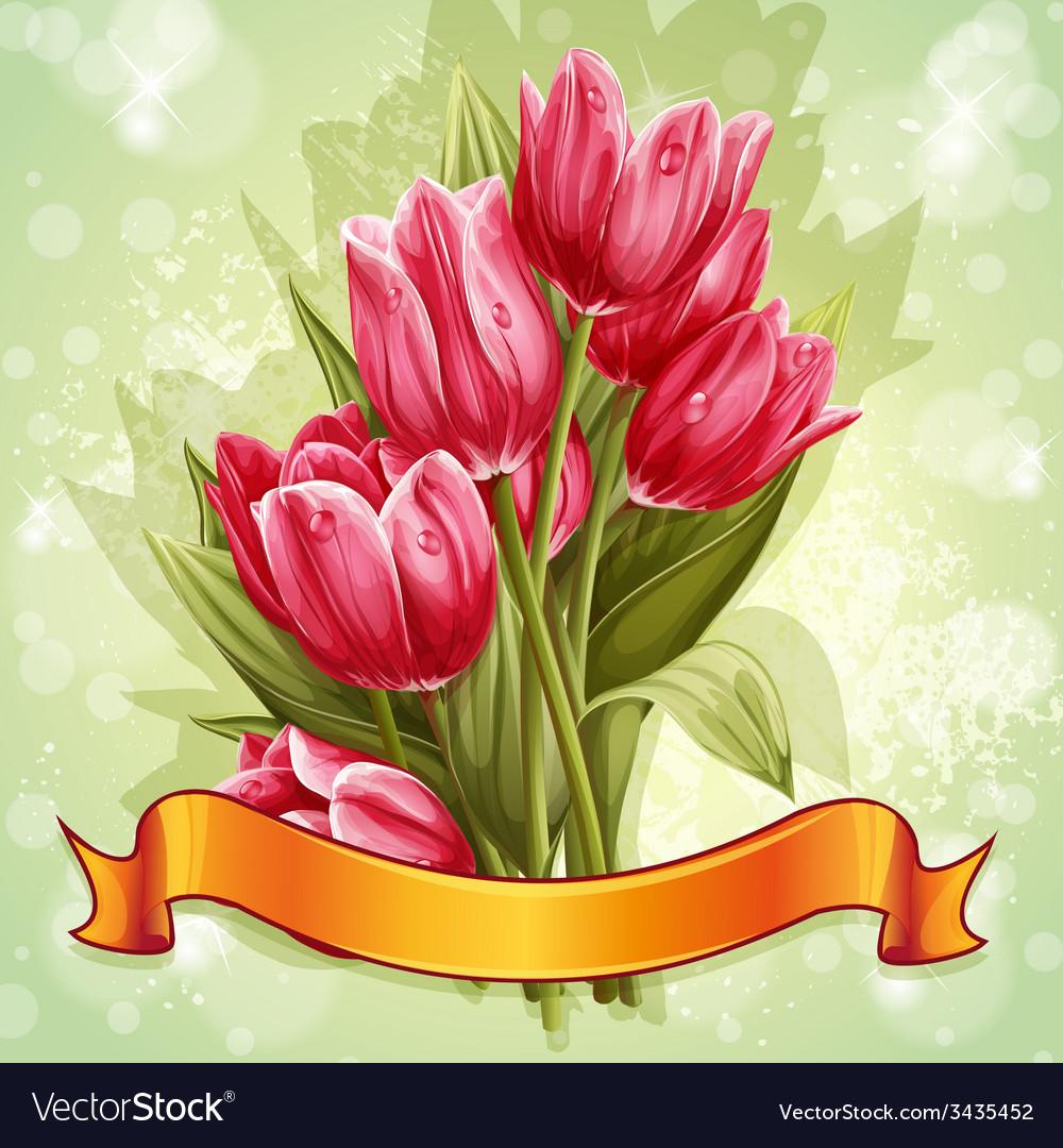 Image of a bouquet of flowers of pink tulips vector | Price: 3 Credit (USD $3)