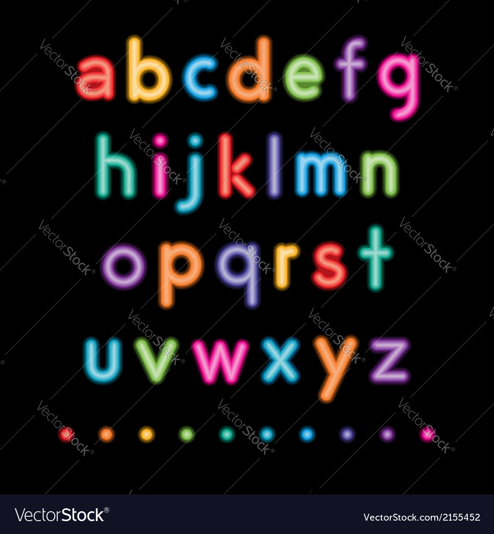 Neon small letters vector | Price: 1 Credit (USD $1)
