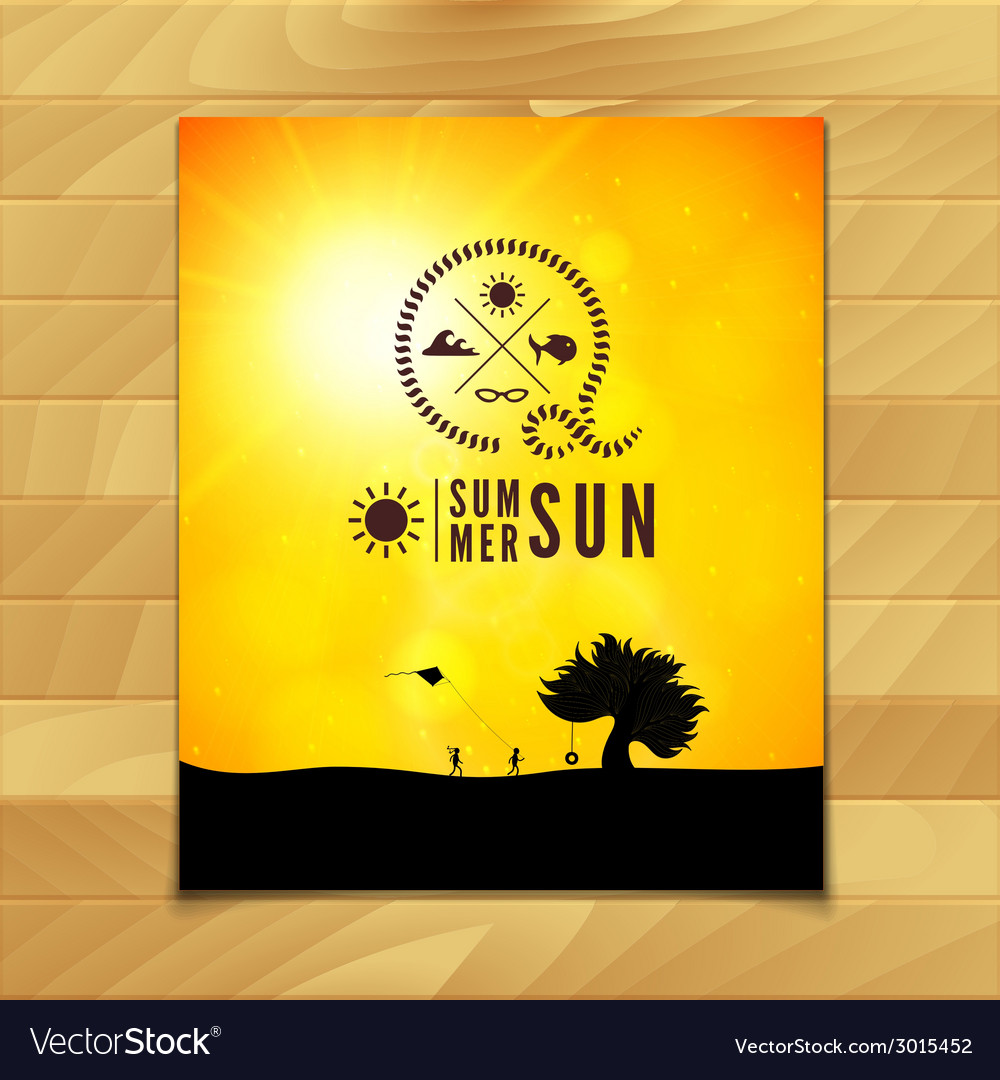 Poster summer theme healthy life style vector | Price: 1 Credit (USD $1)