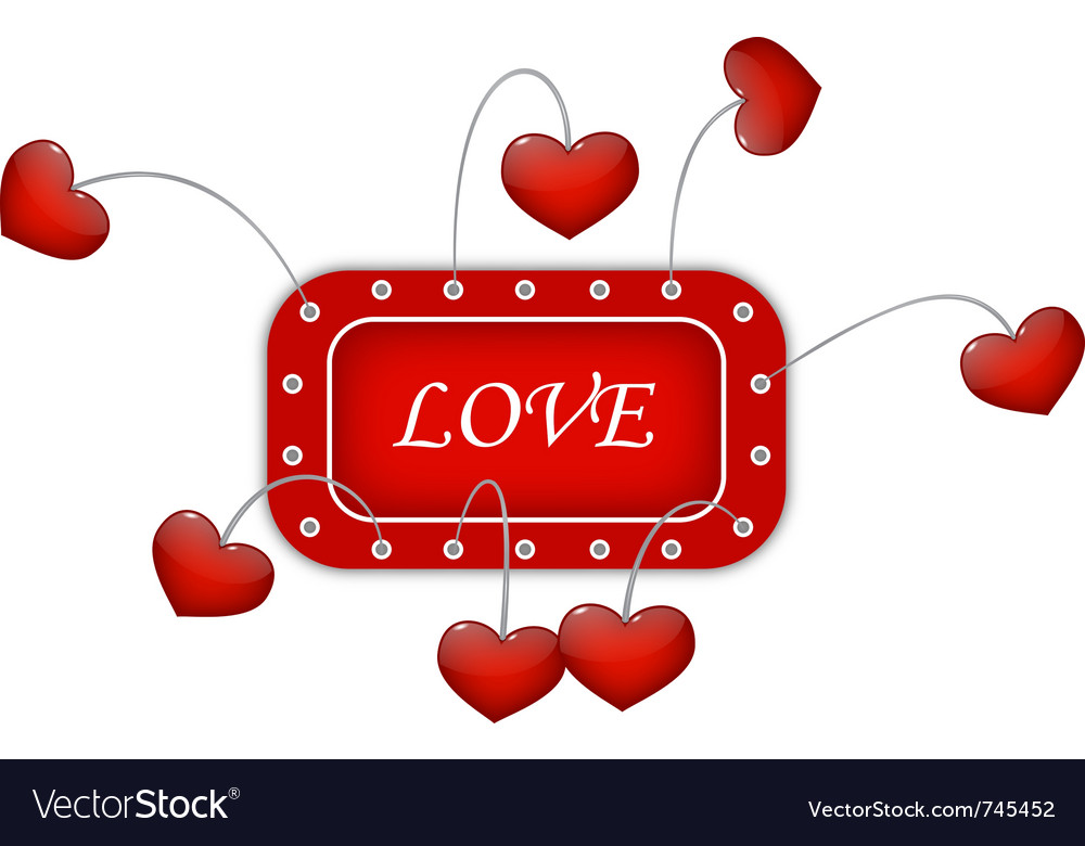 Red frame with love vector | Price: 1 Credit (USD $1)