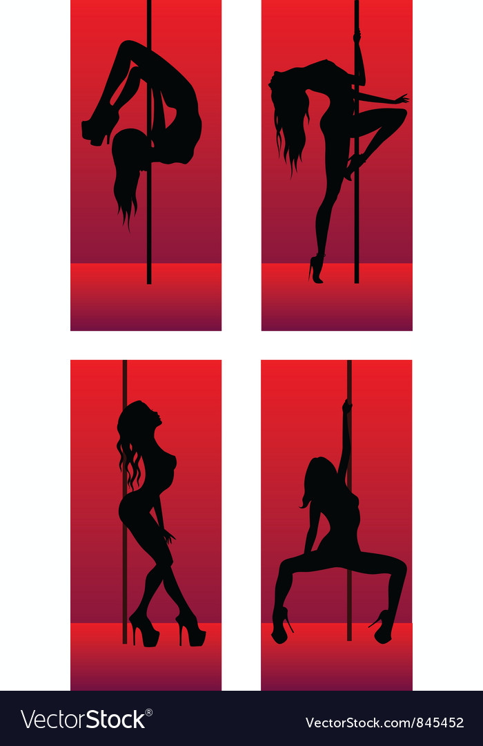 Set of silhouettes dancing girls vector | Price: 1 Credit (USD $1)