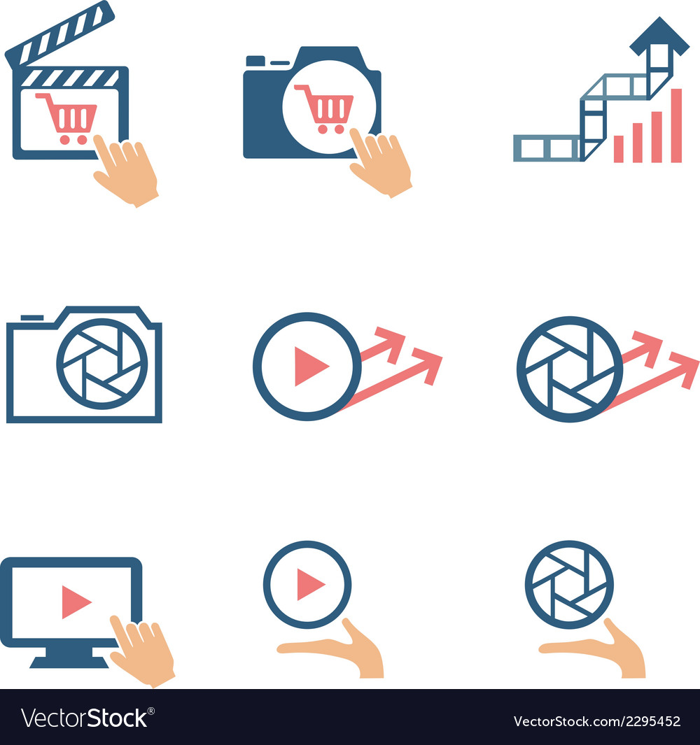 Video and photo bicolor flat icons vector | Price: 1 Credit (USD $1)