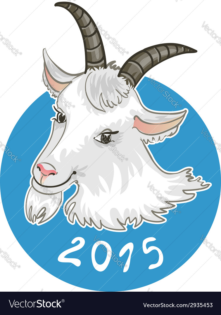 Card with goat on blue background symbol of 2015 vector | Price: 1 Credit (USD $1)