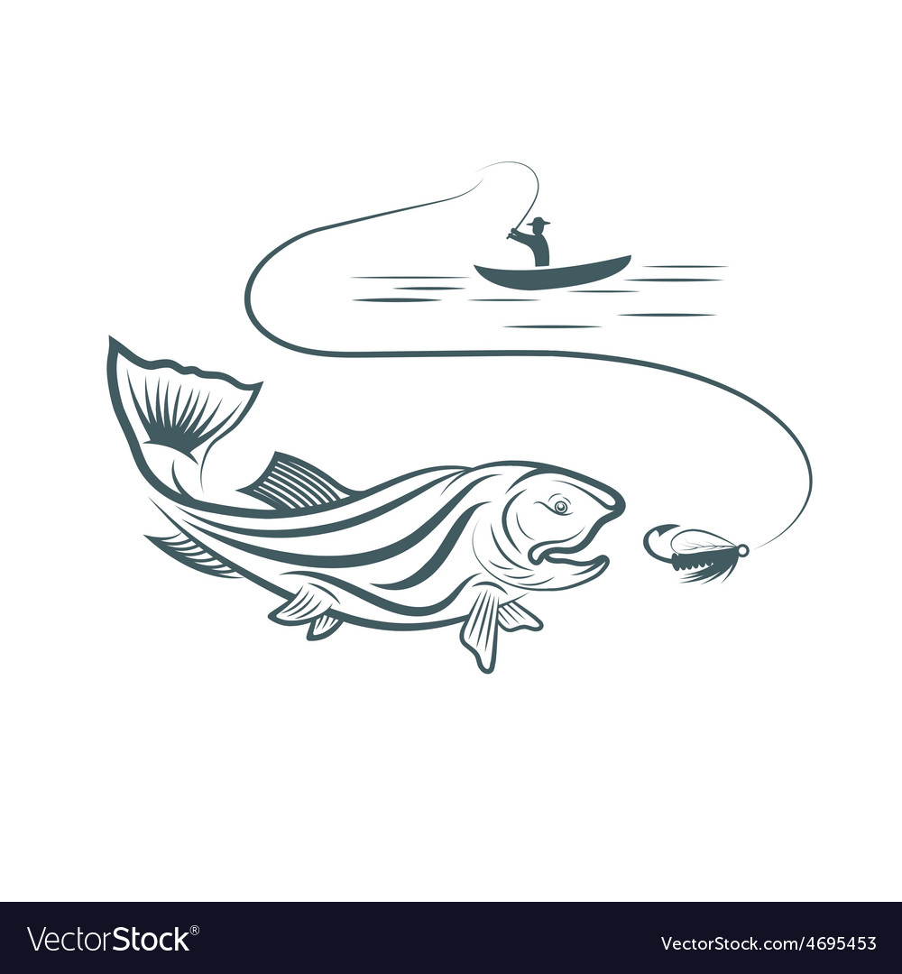 Fisherman in boat and trout vector | Price: 1 Credit (USD $1)