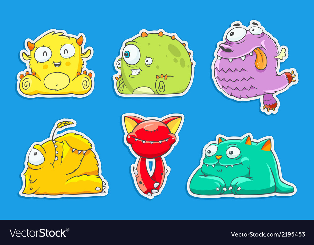 Funny cartoon unusual monsters vector | Price: 1 Credit (USD $1)