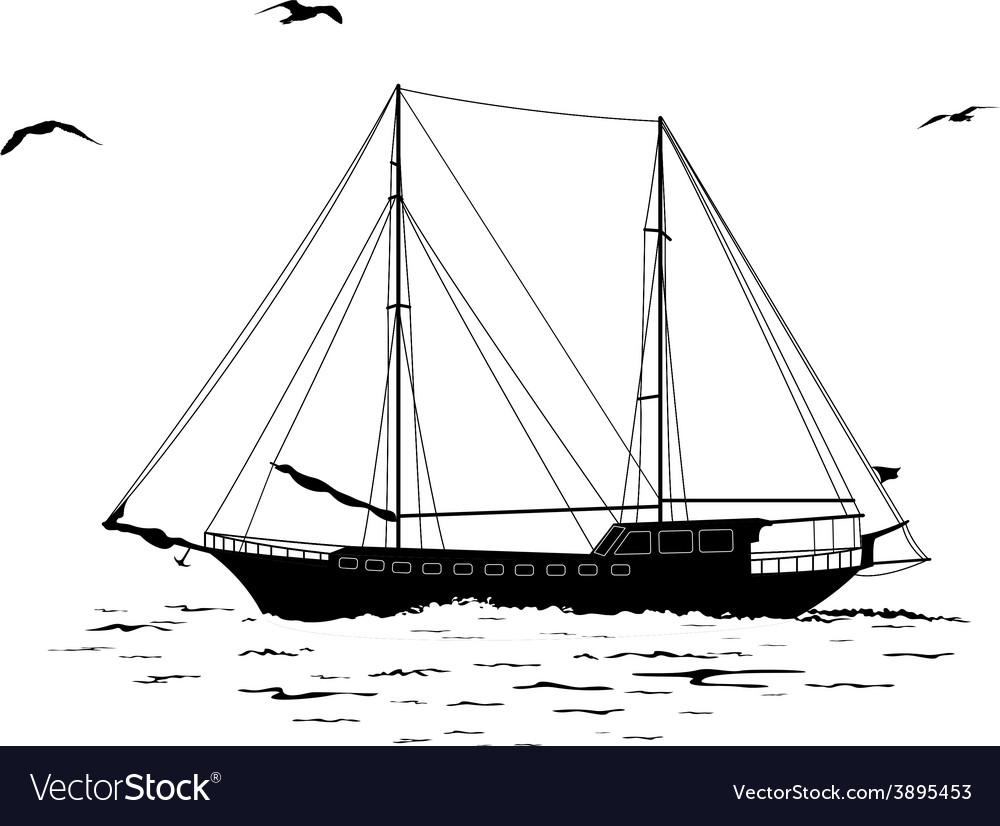 Sailboat in the sea and birds silhouettes vector | Price: 1 Credit (USD $1)