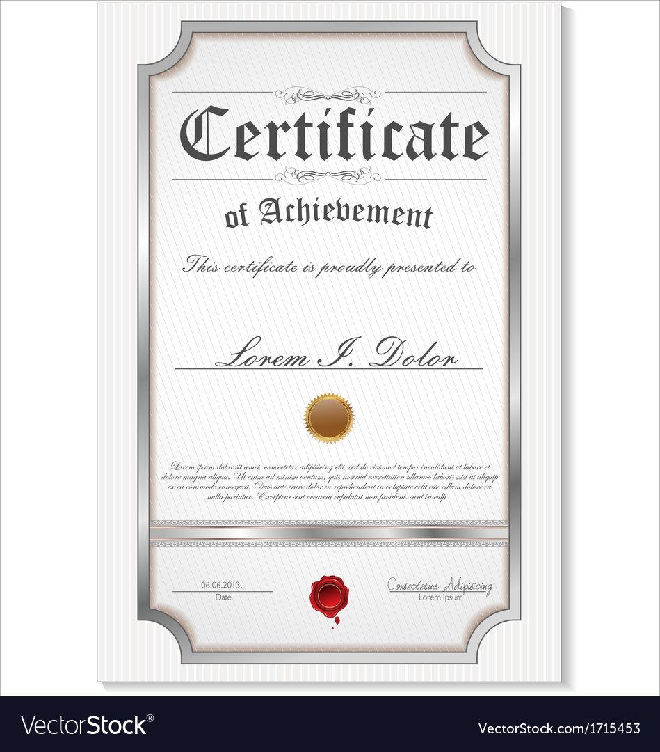 Silver detailed certificate vector | Price: 1 Credit (USD $1)