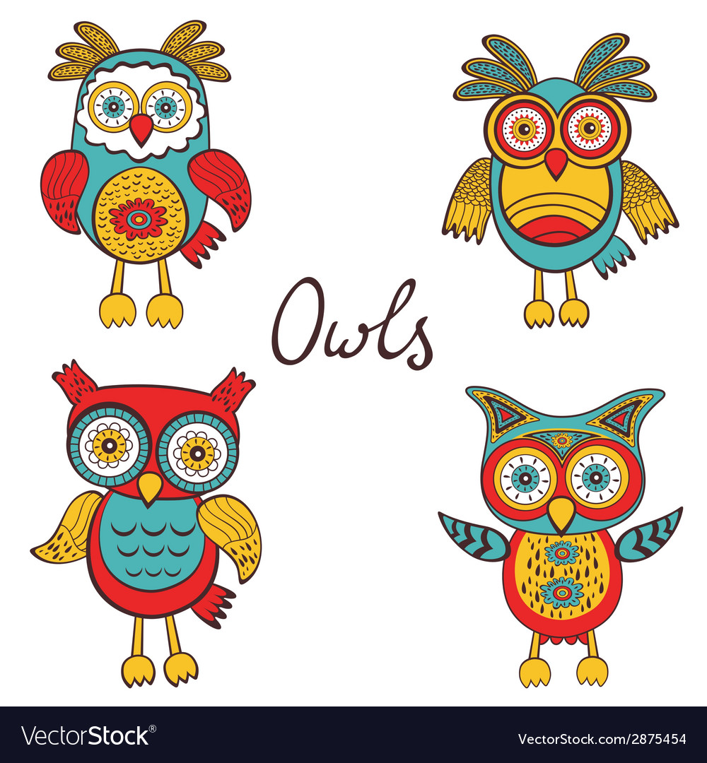 Bright owls set vector | Price: 1 Credit (USD $1)